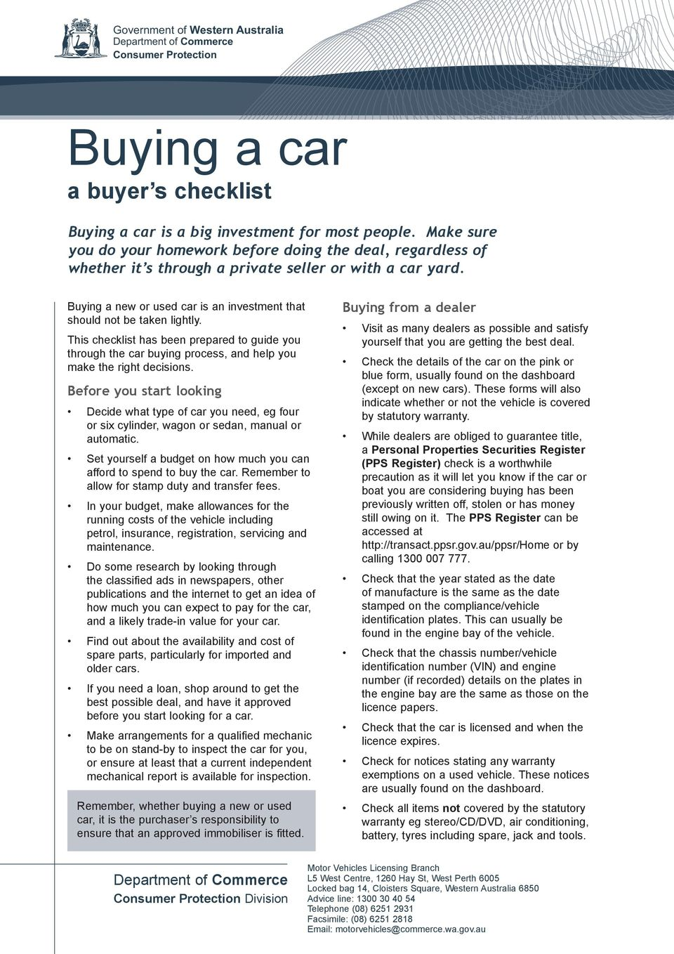 Used Car Buying Checklist >> Buying A Car A Buyer S Checklist Pdf Free Download
