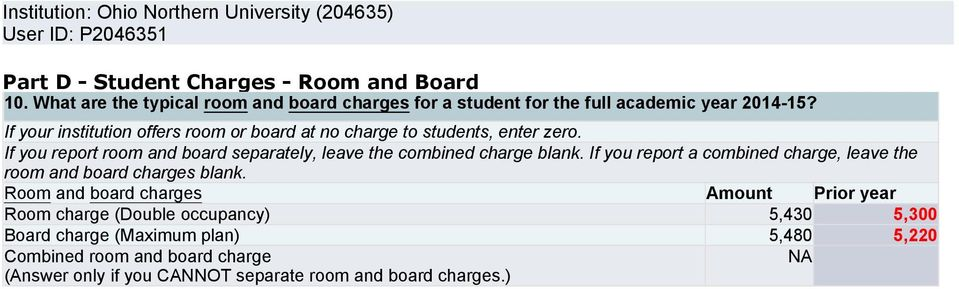 If you report room and board separately, leave the combined charge blank. If you report a combined charge, leave the room and board charges blank.