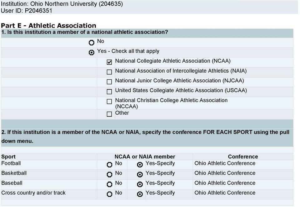 United States Collegiate Athletic Association (USCAA) National Christian College Athletic Association (NCCAA) Other 2.