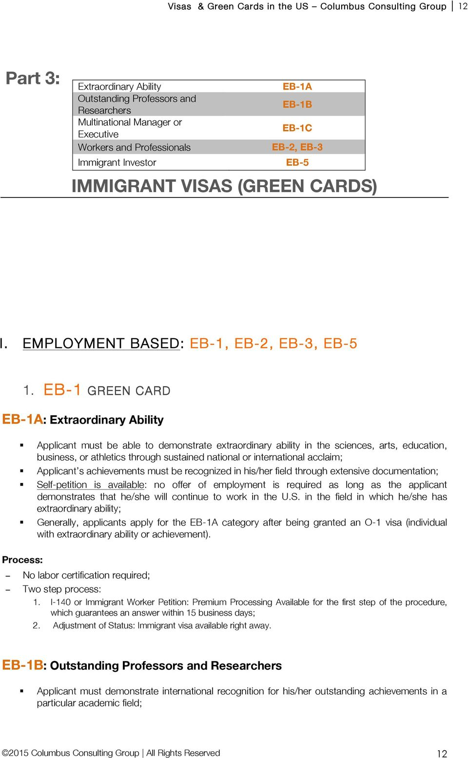 NON-IMMIGRANT VISAS AND GREEN CARDS TO WORK AND LIVE IN THE