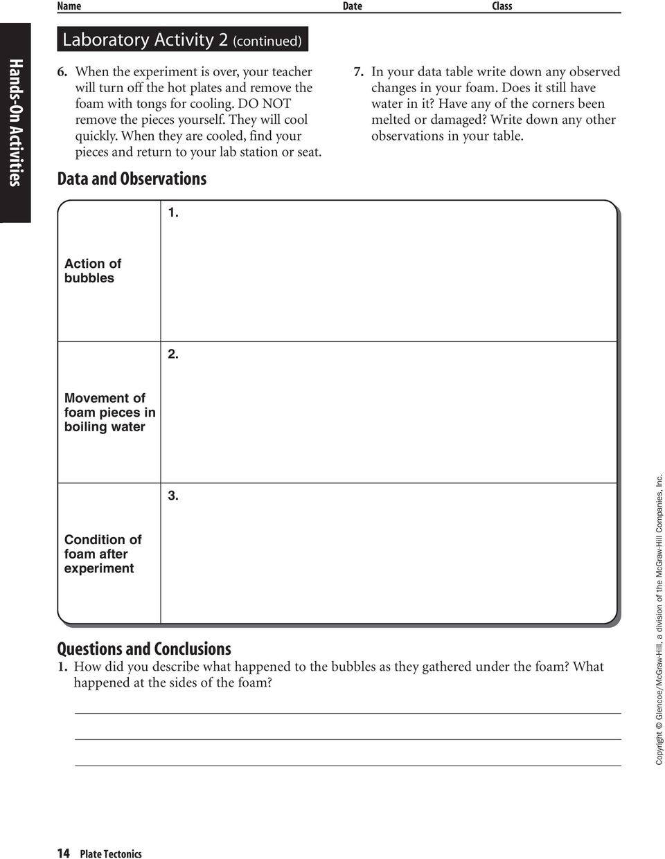 Lab Worksheets for each Student Edition Activity Laboratory