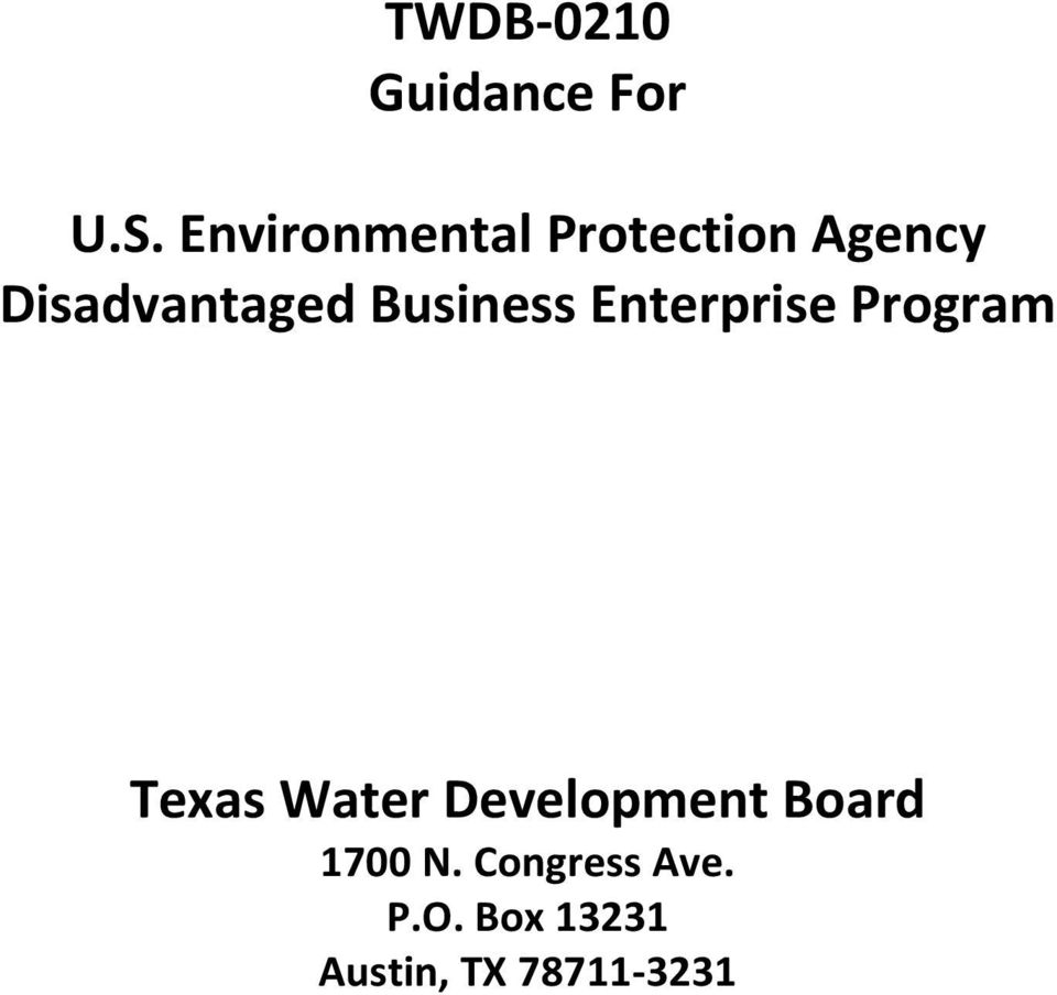 Business Enterprise Program Texas Water