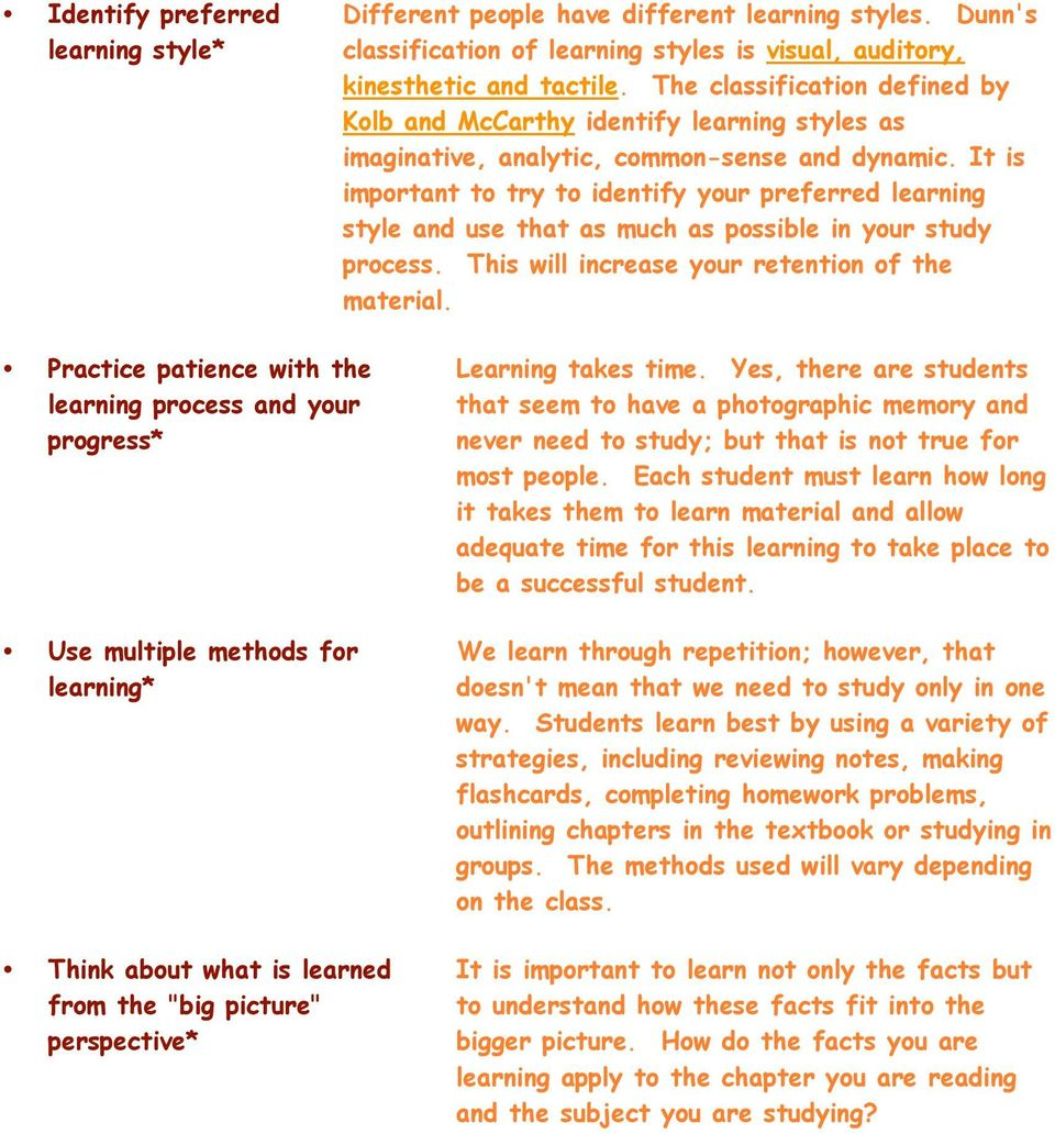 Study Strategies to be a Successful Student QUIZ - PDF