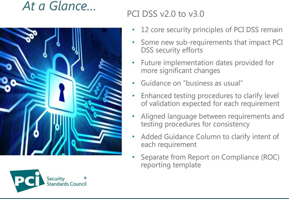 implementation dates provided for more significant changes Guidance on business as usual Enhanced testing procedures to clarify