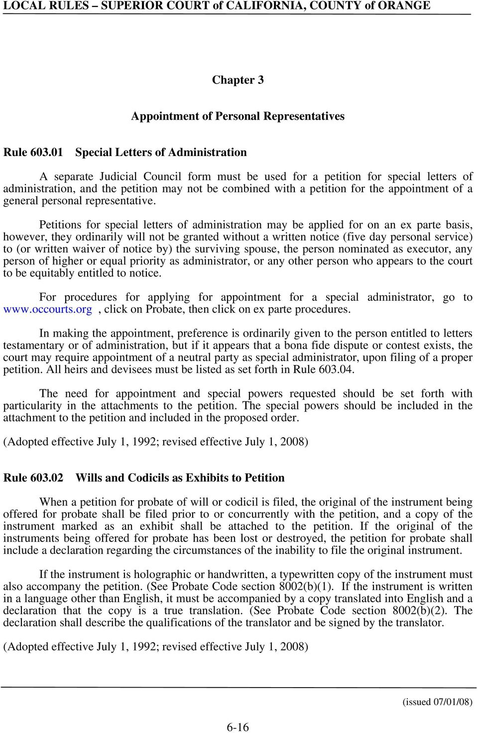 appointment of a general personal representative