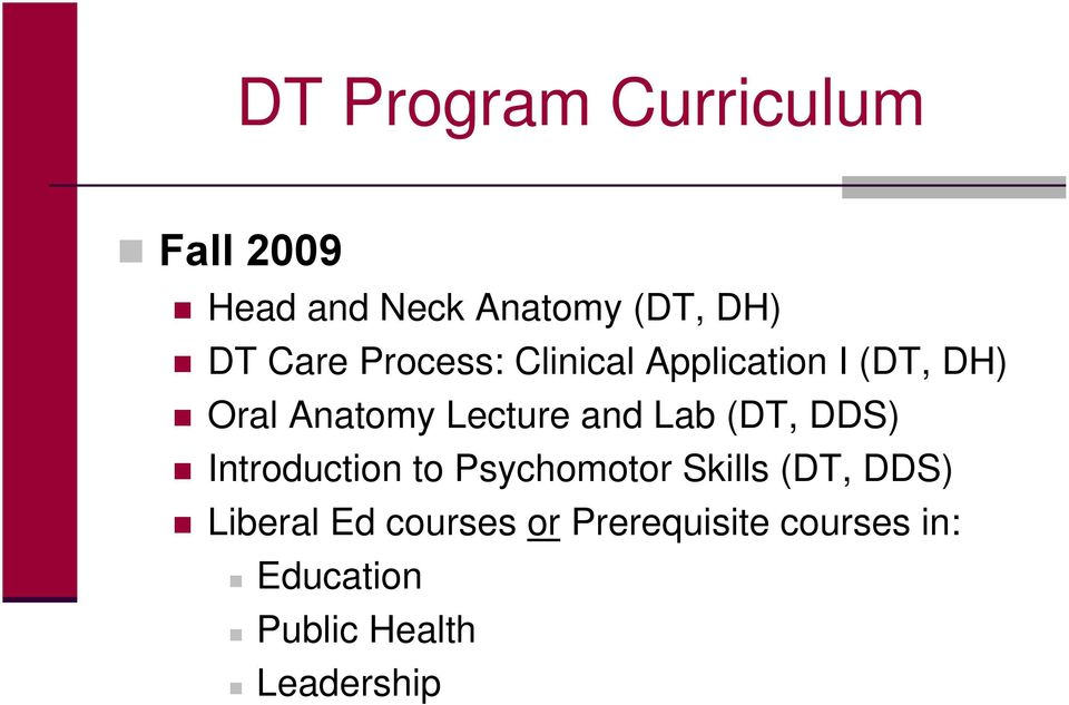 and Lab (DT, DDS) Introduction to Psychomotor Skills (DT, DDS)