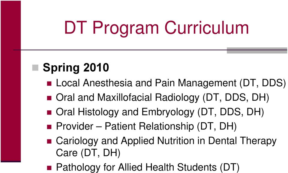 Embryology (DT, DDS, DH) Provider Patient Relationship (DT, DH) Cariology and