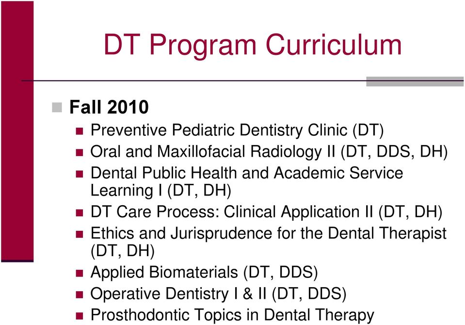 Process: Clinical Application II (DT, DH) Ethics and Jurisprudence for the Dental Therapist (DT, DH)