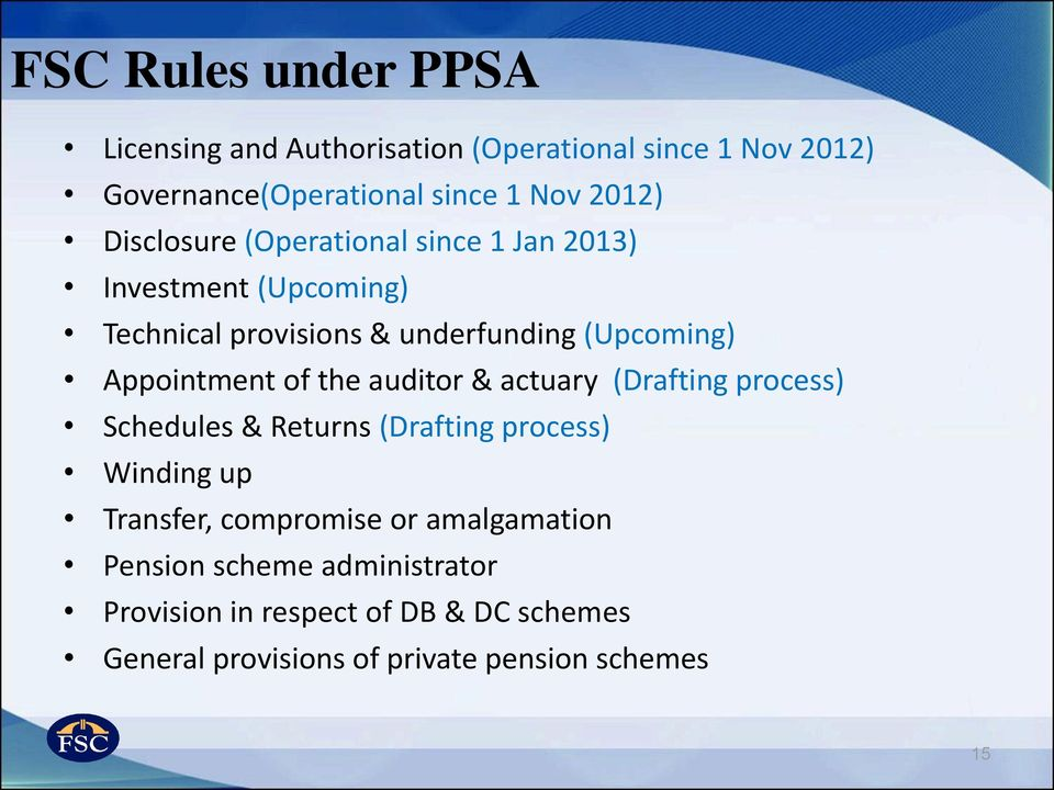 of the auditor & actuary (Drafting process) Schedules & Returns (Drafting process) Winding up Transfer, compromise or