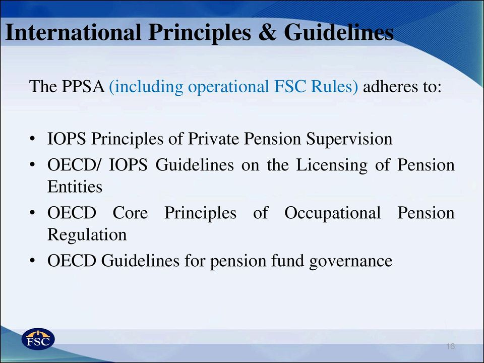 IOPS Guidelines on the Licensing of Pension Entities OECD Core Principles