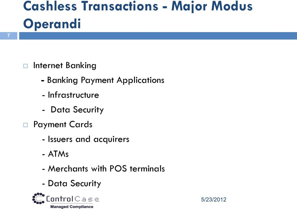 Data Security Payment Cards - Issuers and acquirers -