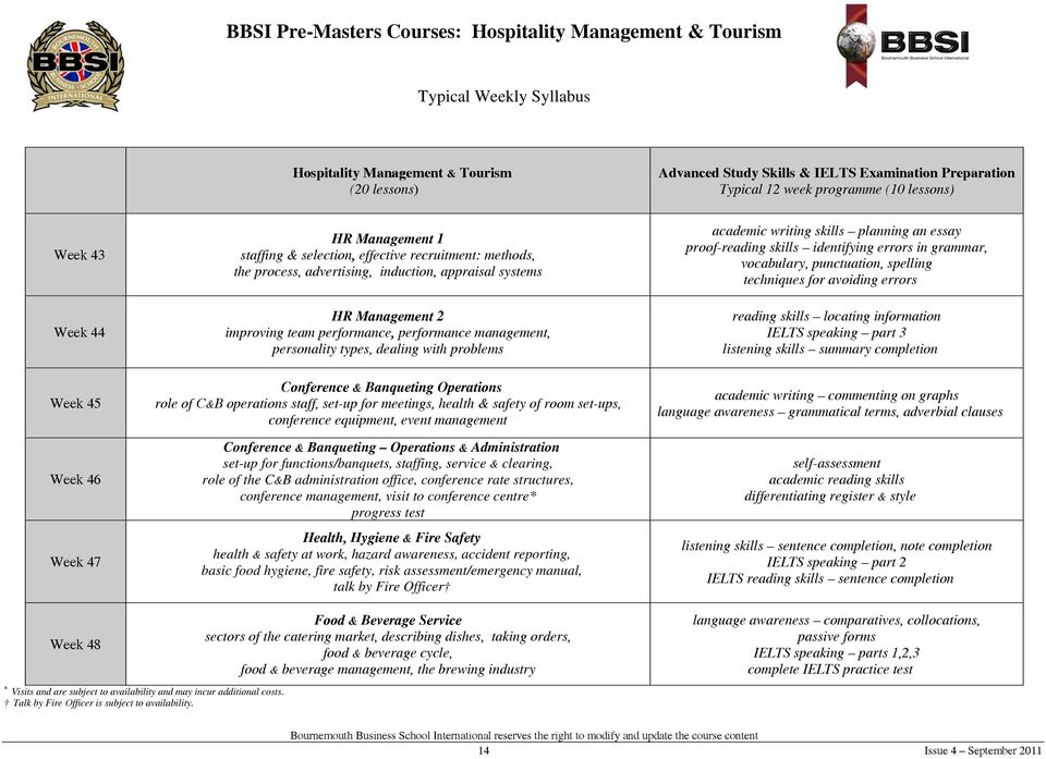 BBSI Pre-Masters Courses in Hospitality Management & Tourism