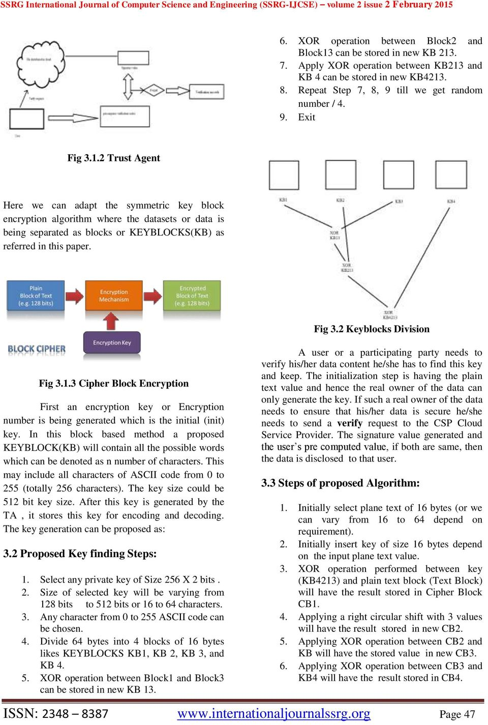 2 Trust Agent Here we can adapt the symmetric key block encryption algorithm where the datasets or data is being separated as blocks or KEYBLOCKS(KB) as referred in this paper. Fig 3.