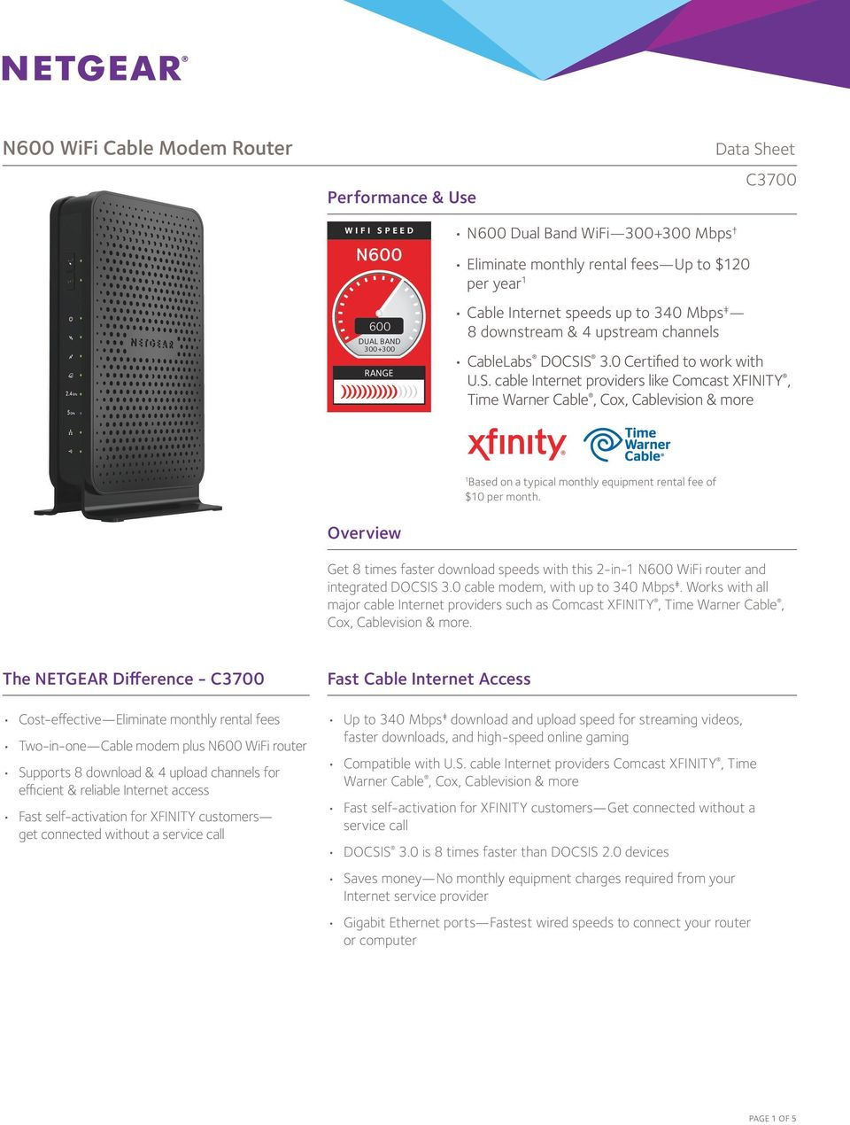 N600 WiFi Cable Modem Router - PDF