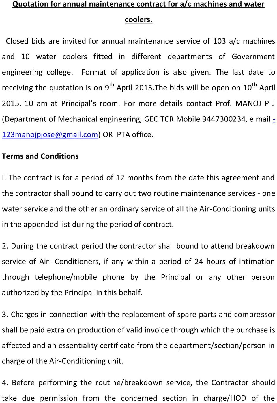 Quotation For Annual Maintenance Contract For Ac Machines And Water
