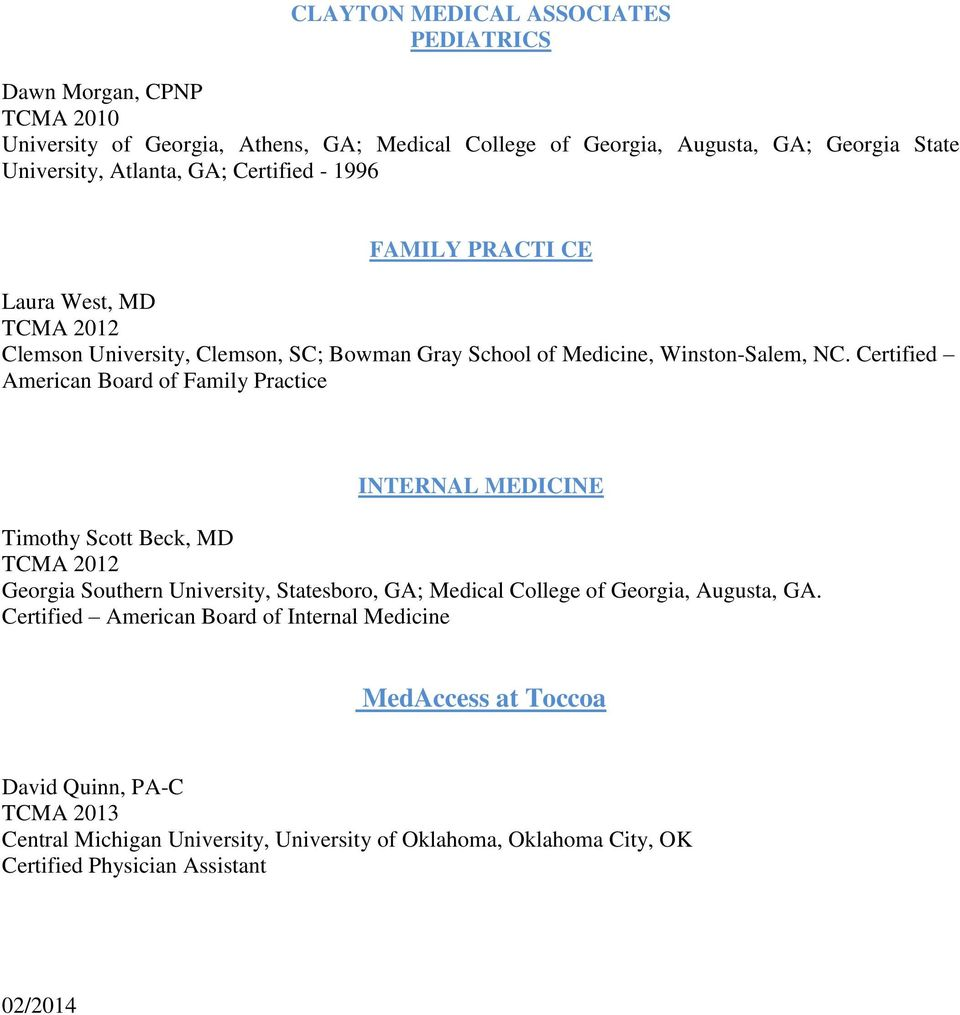 TOCCOA CLINIC MEDICAL ASSOCIATES PROVIDER ROSTER - PDF
