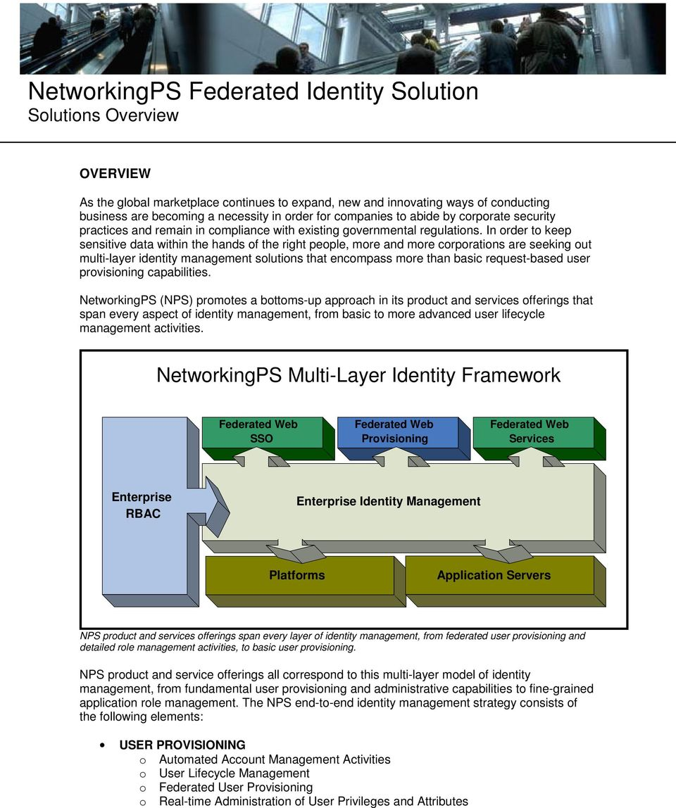 NetworkingPS Federated Identity Solution Solutions Overview