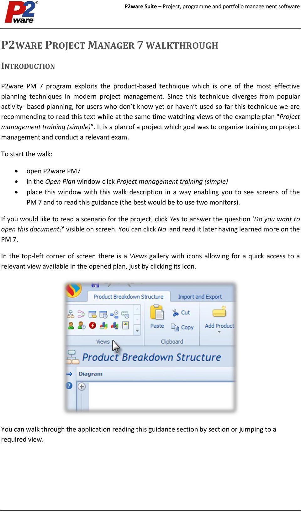 HOW TO START WORKING WITH P2WARE PROJECT MANAGER 7? - PDF