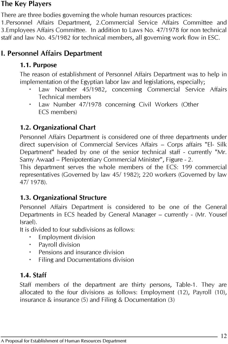 Proposal Establishment Of Human Resources Department Within The