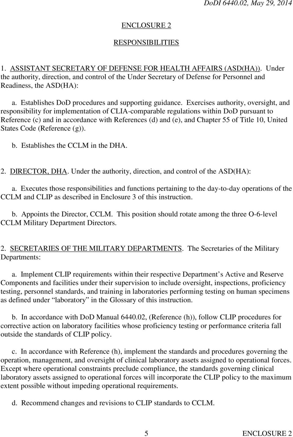 Exercises authority, oversight, and responsibility for implementation of CLIA-comparable regulations within DoD pursuant to Reference (c) and in accordance with References (d) and (e), and Chapter 55