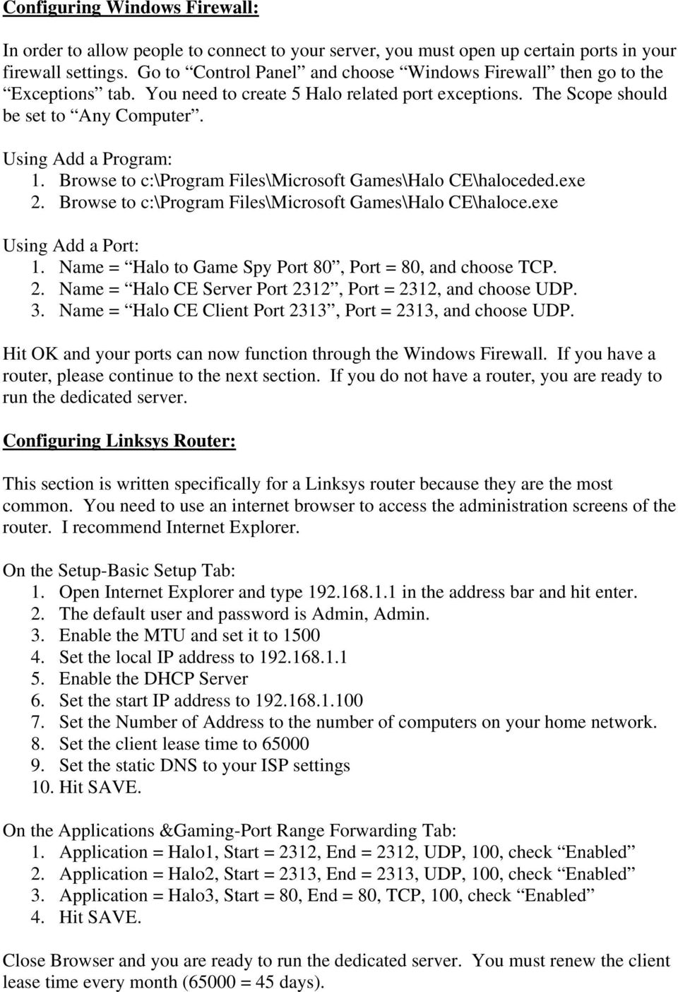 Halo CE Dedicated Server Setup Written by =CE=Leader May 25, PDF