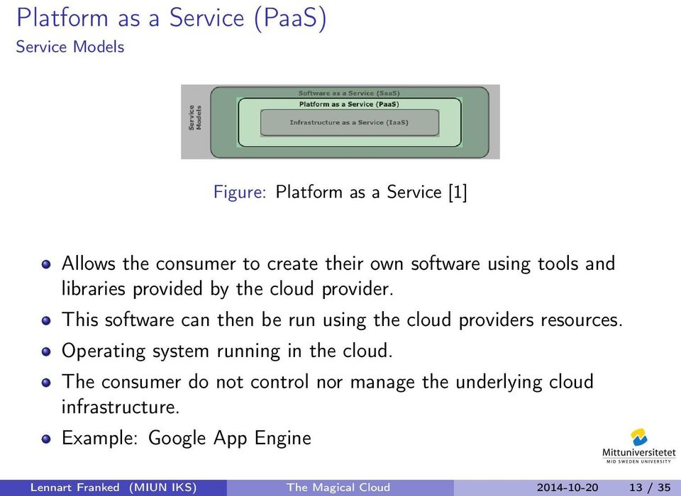 This software can then be run using the cloud providers resources. Operating system running in the cloud.