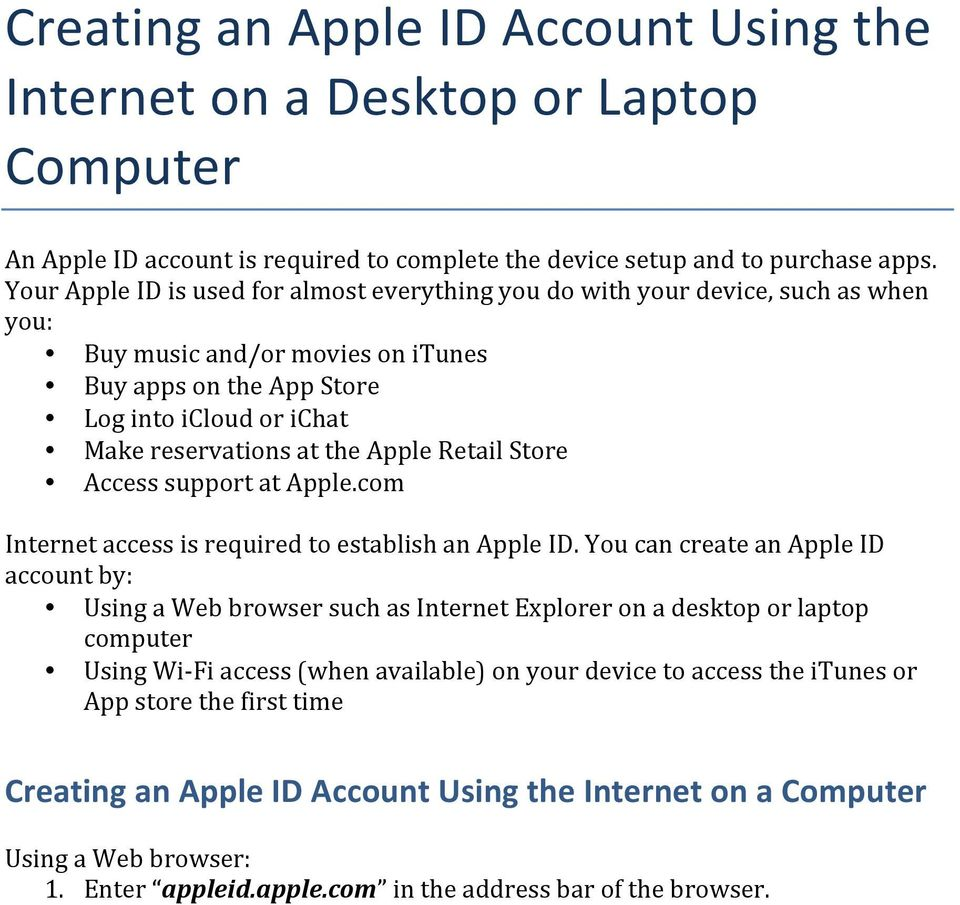 Apple Retail Store Access support at Apple.com Internet access is required to establish an Apple ID.