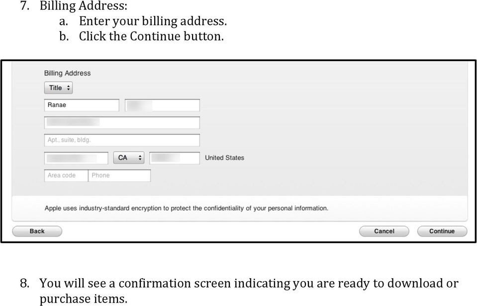 8. You will see a confirmation screen