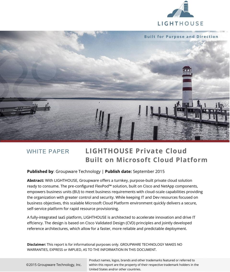 The pre-configured FlexPod solution, built on Cisco and NetApp components, empowers business units (BU) to meet business requirements with cloud-scale capabilities providing the organization with