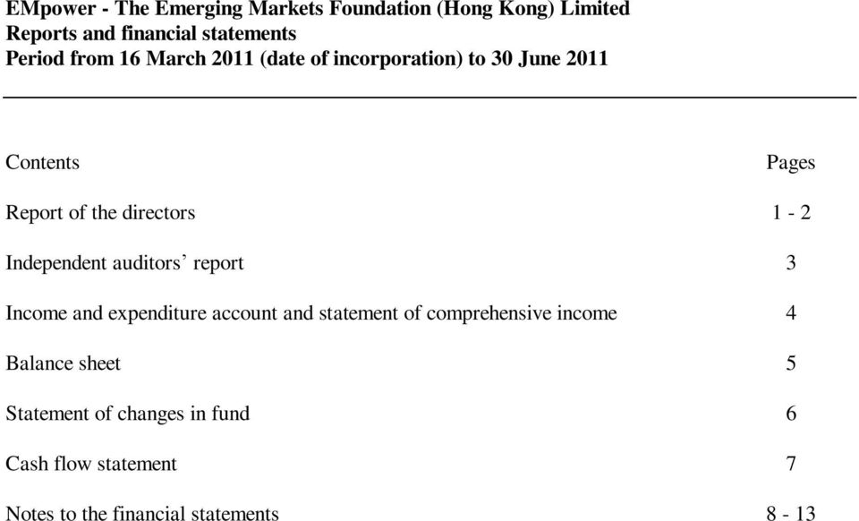 account and statement of comprehensive income 4 Balance sheet 5