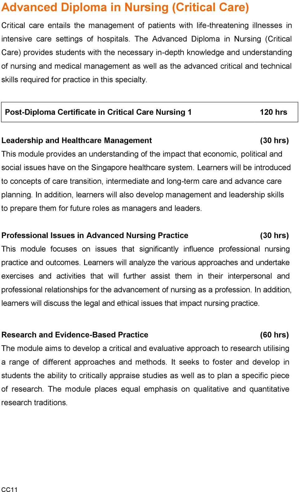 Advanced Diploma in Nursing (Critical Care) - PDF