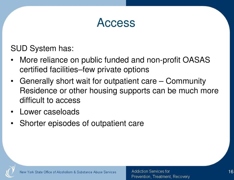 outpatient care Community Residence or other housing supports can be much