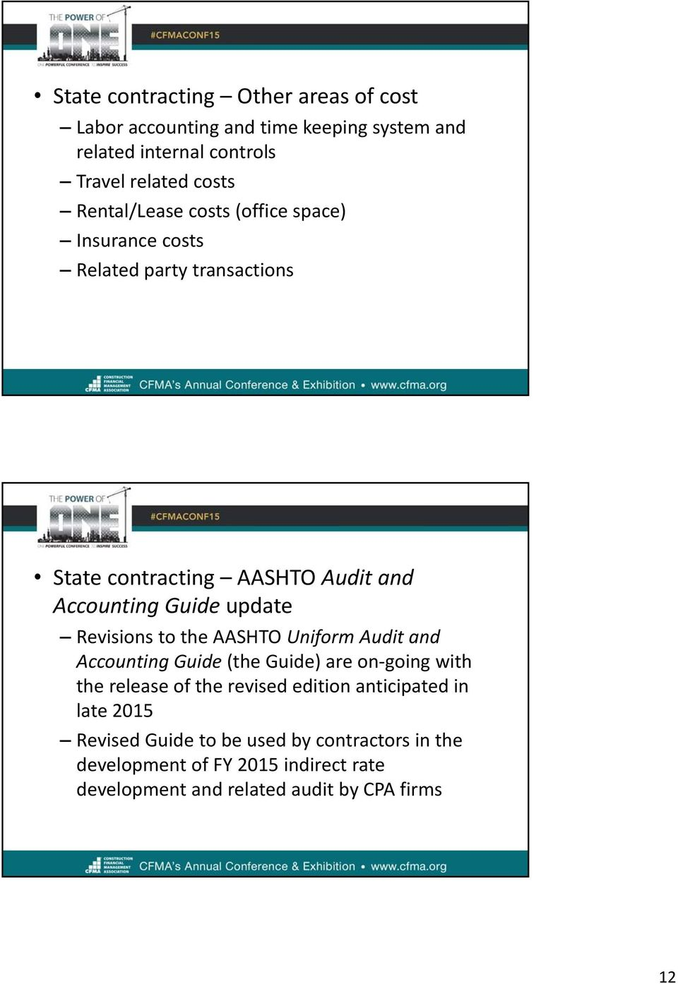 Revisions to the AASHTO Uniform Audit and Accounting Guide (the Guide) are on going with the release of the revised edition anticipated