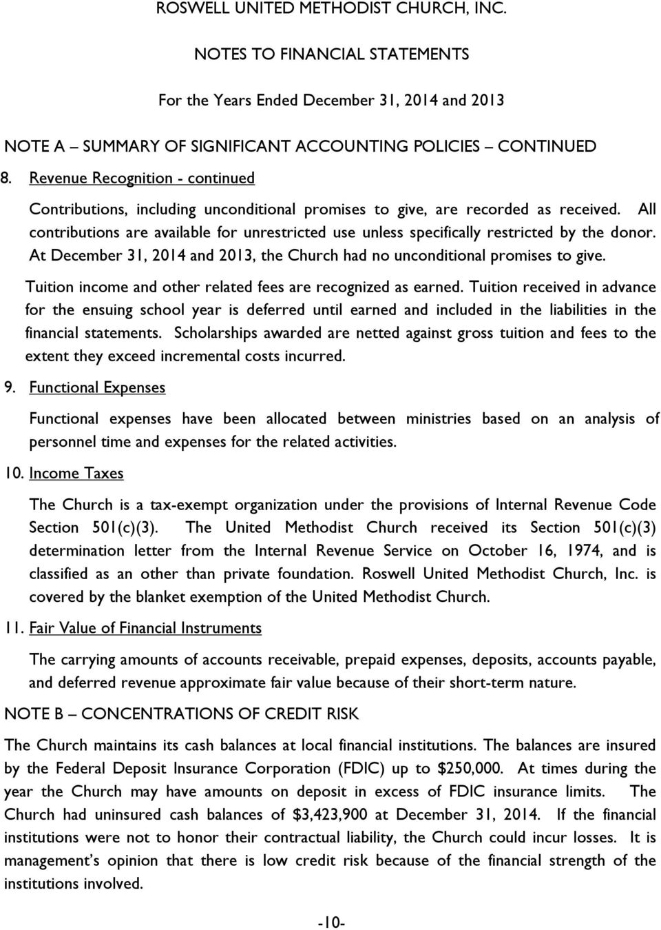 All contributions are available for unrestricted use unless specifically restricted by the donor. At December 31, 2014 and 2013, the Church had no unconditional promises to give.