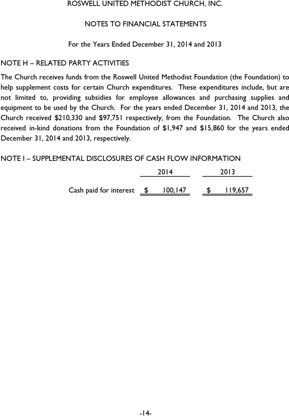 For the years ended December 31, 2014 and 2013, the Church received $210,330 and $97,751 respectively, from the Foundation.