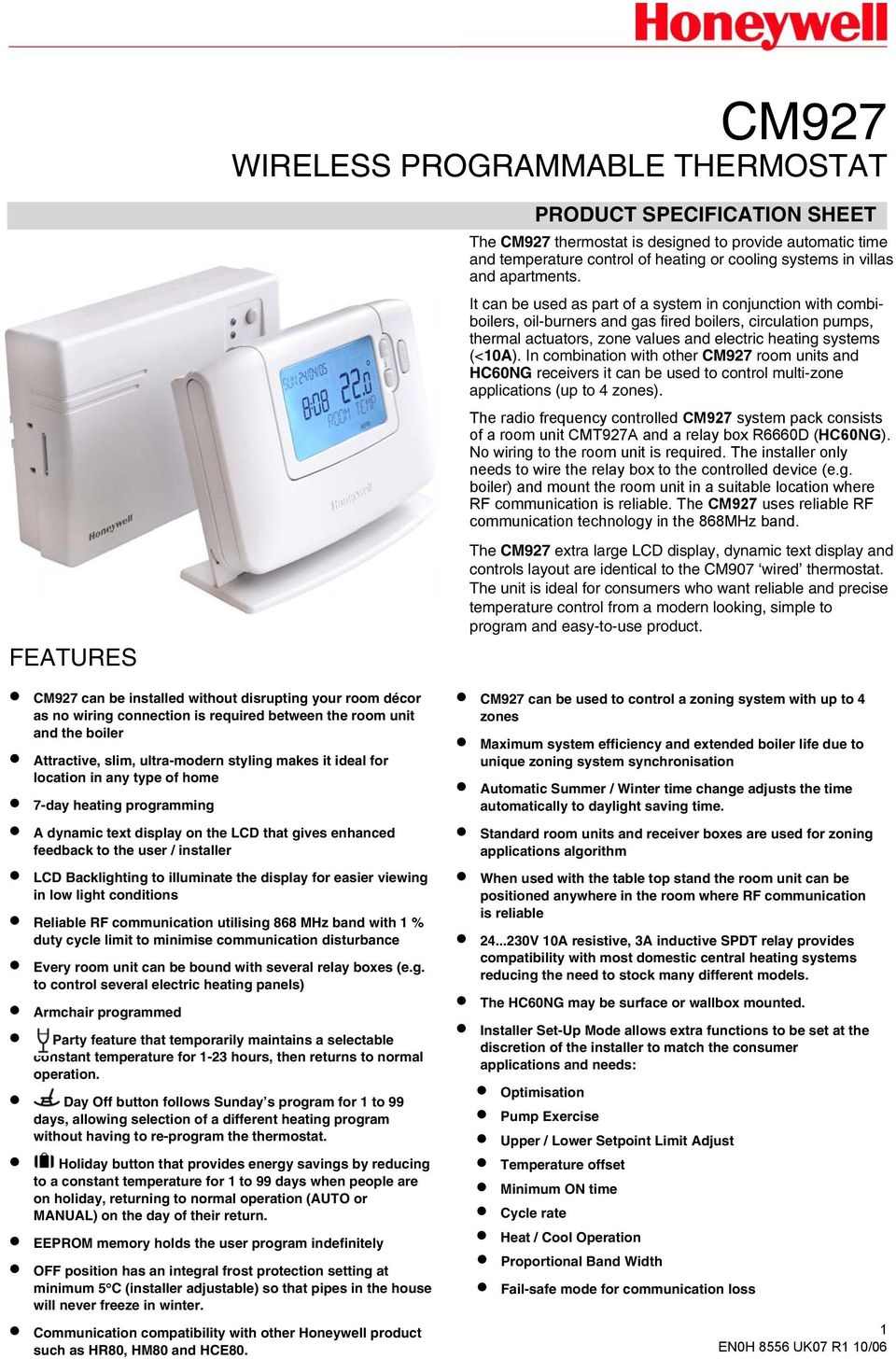 Cm927 Wireless Programmable Thermostat Features Product Wiring A Rf To Illuminate The Display For Easier Viewing In Low Light Conditions Reliable Communication Utilising 868