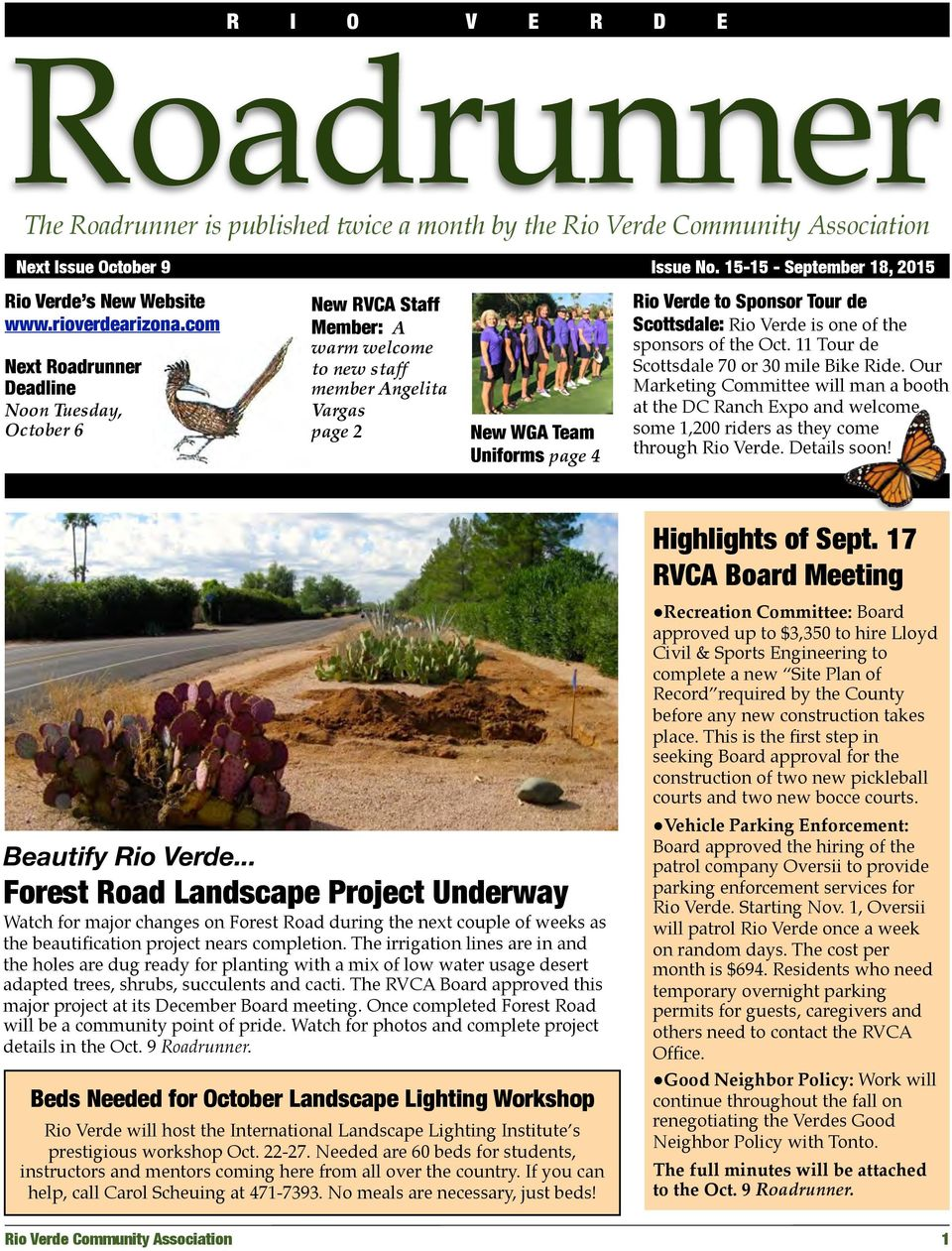 Roadrunner  Highlights of Sept  17 RVCA Board Meeting  The