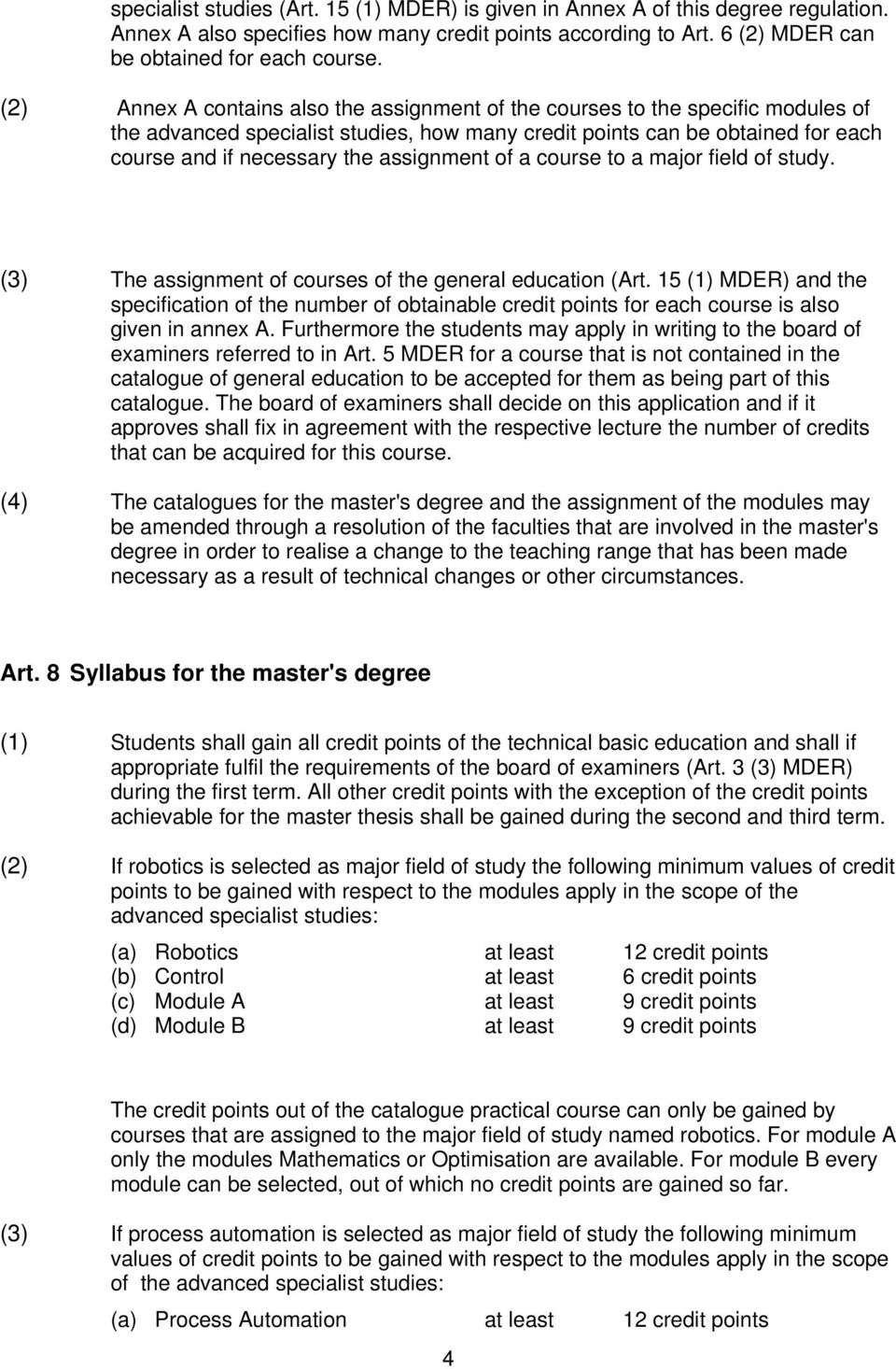 Degree Regulations For The Master S Degree Automation And Robotics