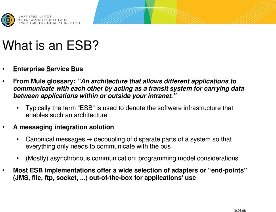 ESB pilot project at the FMI - PDF
