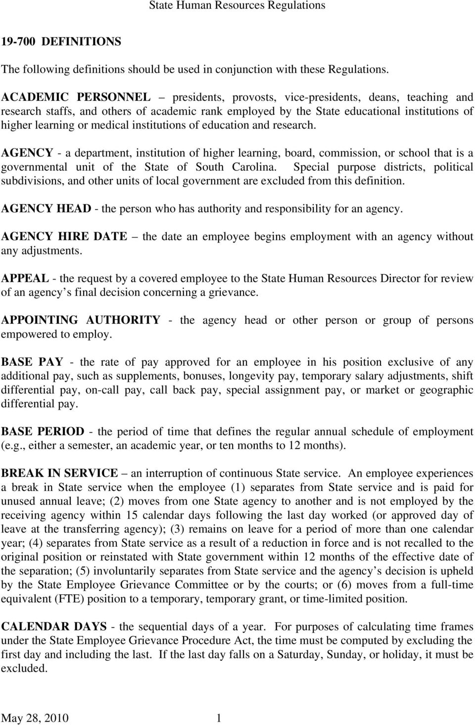 State Human Resources Regulations  The following definitions