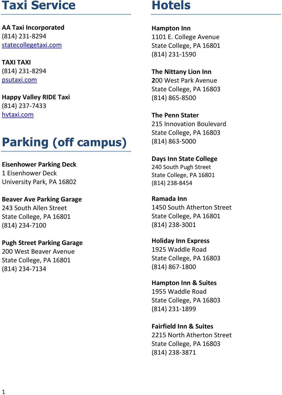 Hotels Taxi Service Parking Off Campus Aa Taxi Incorporated 814