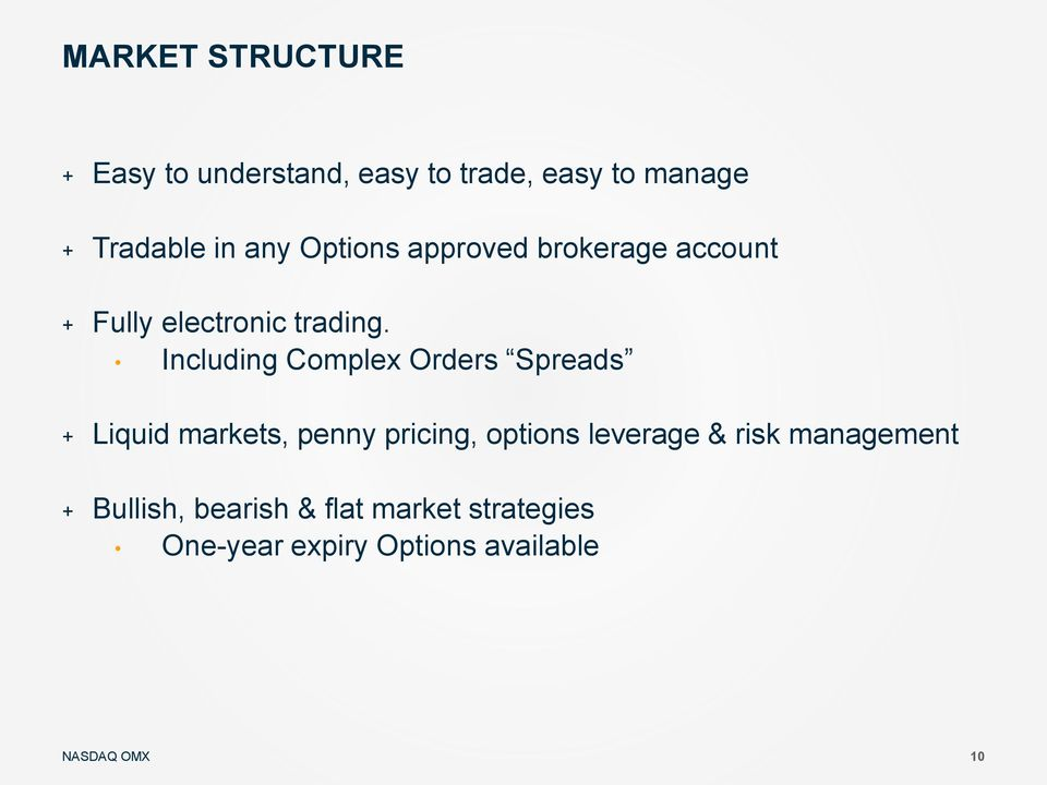Including Complex Orders Spreads + Liquid markets, penny pricing, options leverage