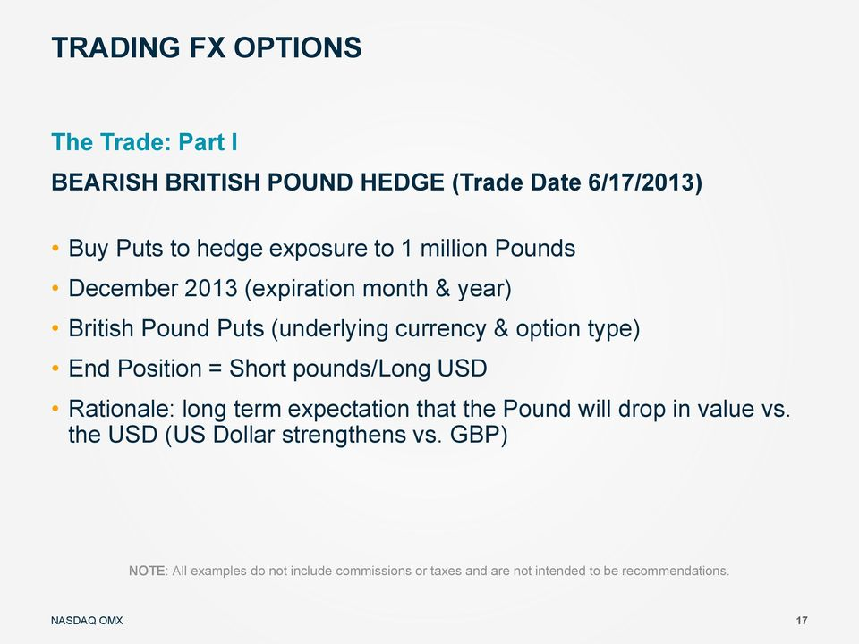 Position = Short pounds/long USD Rationale: long term expectation that the Pound will drop in value vs.