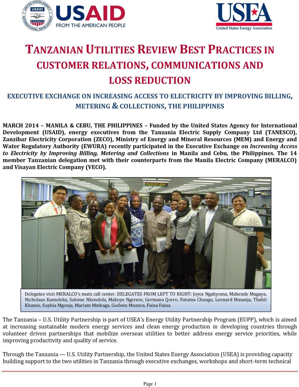 TANZANIAN UTILITIES REVIEW BEST PRACTICES IN - PDF