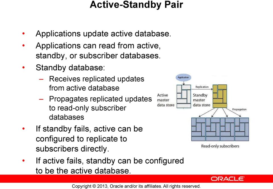 Standby database: Receives replicated updates from active database Propagates replicated updates to