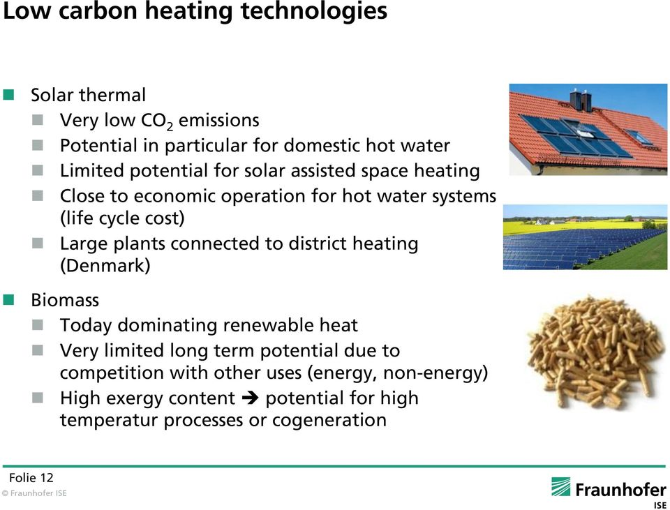 connected to district heating (Denmark) Biomass Today dominating renewable heat Very limited long term potential due to