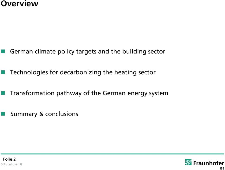 the heating sector Transformation pathway of the
