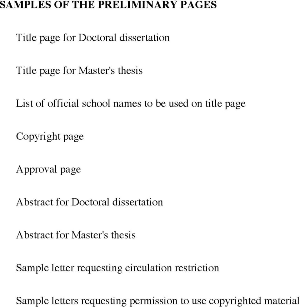 SAMPLES OF THE PRELIMINARY PAGES  Title page for Doctoral