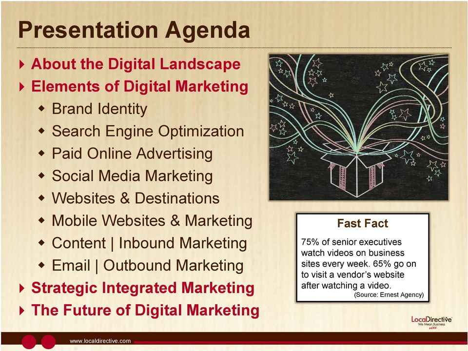 Marketing Email Outbound Marketing Strategic Integrated Marketing The Future of Digital Marketing Fast Fact 75% of senior