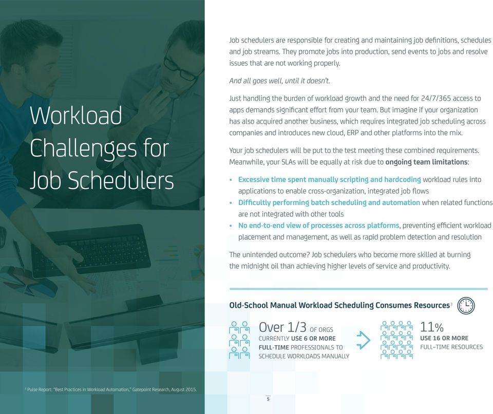 Workload Challenges for Job Schedulers Just handling the burden of workload growth and the need for 24/7/365 access to apps demands significant effort from your team.